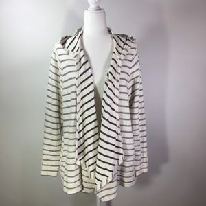 DB Sunday Cream & Gray Stripe Hoodie Jacket 2X